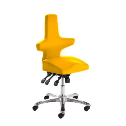 An Image of Stacy Home Office Chair In Yellow With Chrome Base