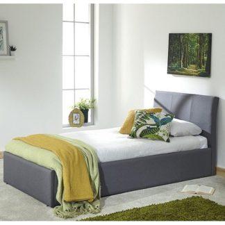 An Image of Keanu Fabric Ottoman Storage Single Bed In Grey