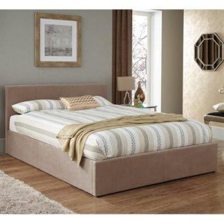 An Image of Evelyn Latte Fabric Upholstered Ottoman Super King Size Bed