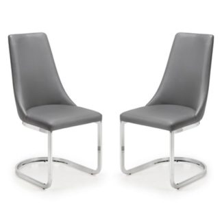 An Image of Como Grey Faux Leather Cantilever Dining Chair In Pair