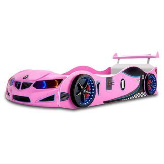 An Image of BMW GTI Childrens Car Bed In Pink With Spoiler And LED