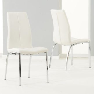 An Image of Lupus Ivory Leather Dining Chairs In Pair