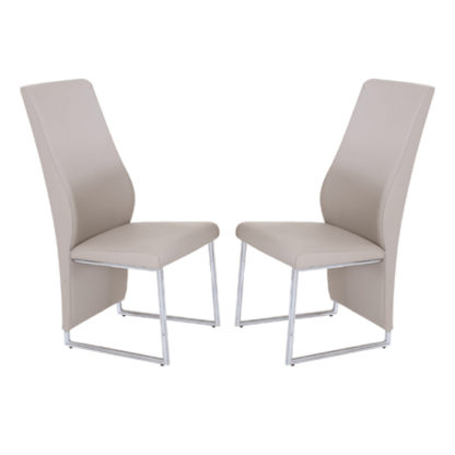 An Image of Crystal Champagne PU Dining Chairs In Pair With Chrome Legs