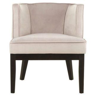 An Image of Adalinise Rounded Velvet Upholstered Bedroom Chair In Light Grey