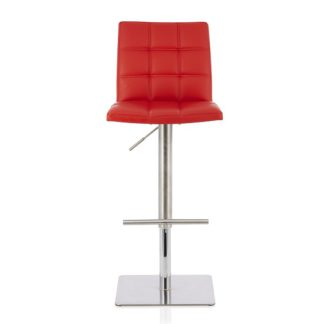 An Image of Rocklin Bar Stool In Red Faux Leather And Stainless Steel Base