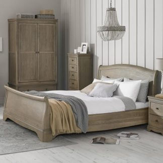 An Image of Ametis Wooden Sleigh Super King Size Bed In Grey Washed Oak