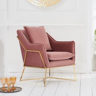 An Image of Gamma Velvet Accent Lounge Chair In Pink With Brass Frame