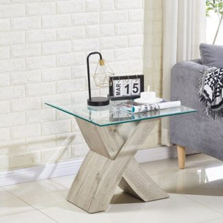 An Image of Xanti Glass X Base Lamp Table In Clear With Grey Oak Effect