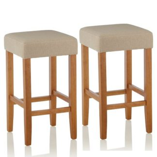 An Image of Newark Bar Stools In Mink Fabric And Oak Legs In A Pair