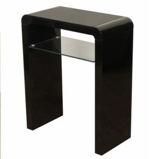 An Image of Norset Small Console Table In Black Gloss With 1 Glass Shelf