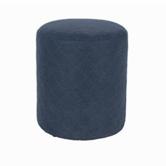 An Image of Arturo Upholstered Round Fabric Stool In Blue