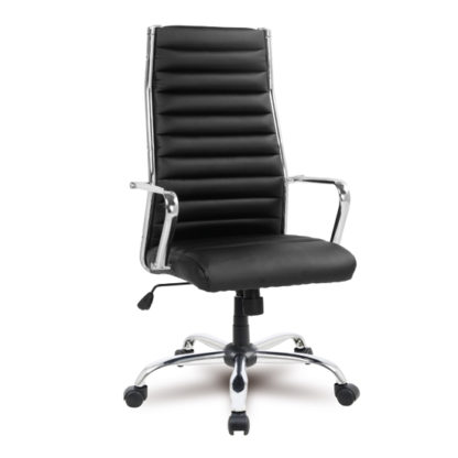 An Image of Julius Home Office Chair In Black Faux Leather With Castors