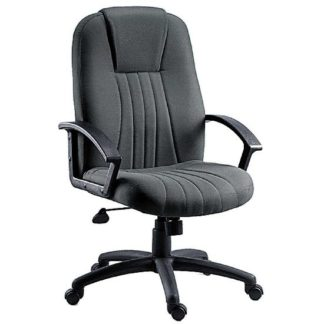 An Image of Cromer Home Office Chair In Charcoal Grey Fabric With Castors