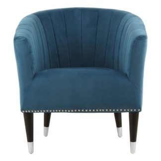 An Image of Homam Tub Style Velvet Upholstered Armchair In Blue Finish