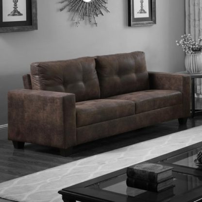 An Image of Lena Antique Fabric 3 Seater Sofa In Brown