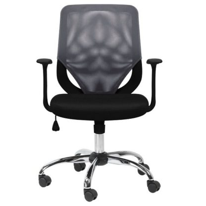 An Image of Atlanta Home And Office Chair In Black And Grey With Fabric Seat