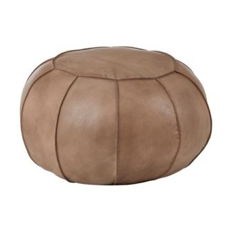An Image of Australis Pouffe In Grey Tactile Leather