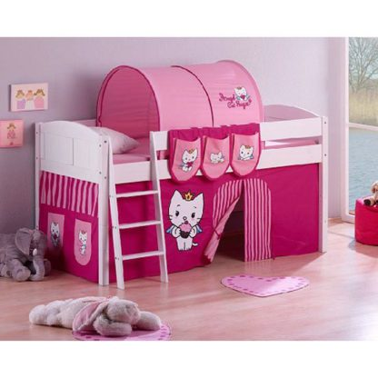 An Image of IDA Wooden ACS Children Bed In White With Curtains