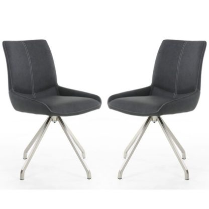 An Image of Spindle Dark Grey Leather Dining Chair In A Pair With Spider Leg