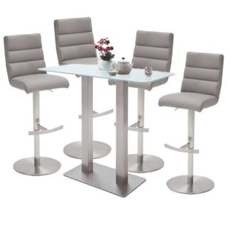 An Image of Soho White Glass Bar Table With 4 Hiulia Ice Grey Leather Stools