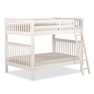 An Image of Malvern Wooden Small Double Bunk Bed In White