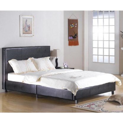 An Image of Fusion Faux Leather Double Bed In Black