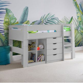 An Image of Pluto Bunk Bed With Bookcase And Chest Of Drawers In Dove Grey