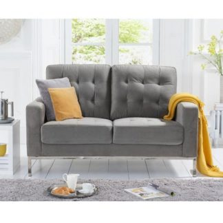 An Image of Swiger Velvet Two Seater Sofa In Grey With Metal Legs