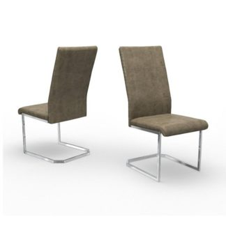 An Image of Nati Faux Leather Dining Chair In Antique Taupe In A Pair