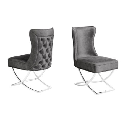 An Image of Maria Dark Grey Velvet Fabric Dining Chairs In Pair
