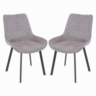 An Image of Arturo Grey Fabric Dining Chair In Pair With Metal Black Legs