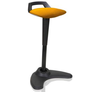 An Image of Spry Fabric Office Stool In Black Frame And Senna Yellow Seat