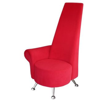 An Image of Avalon Right Handed Mini Potenza Chair In Red With Chrome Legs