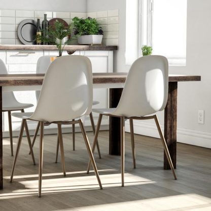 An Image of Copley White Plastic Dining Chairs In Pair