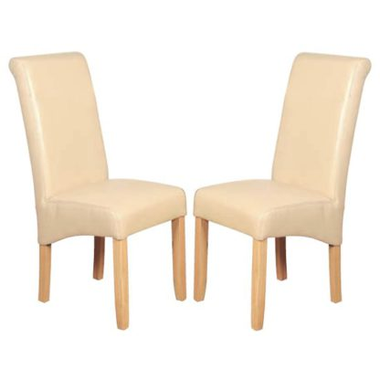 An Image of Sika Cream Leather Air Dining Chair In Pair