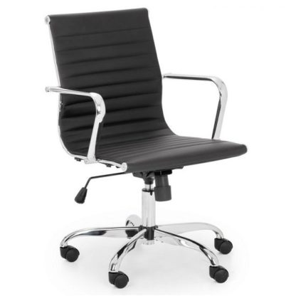 An Image of Wollano Faux Leather Office Chair In Black With Chrome Base