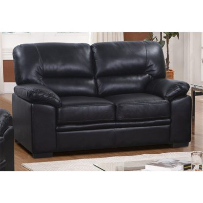 An Image of Rachel LeatherGel And PU 2 Seater Sofa In Black