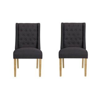 An Image of Verona Charcoal Finish Dining Chairs In Pair
