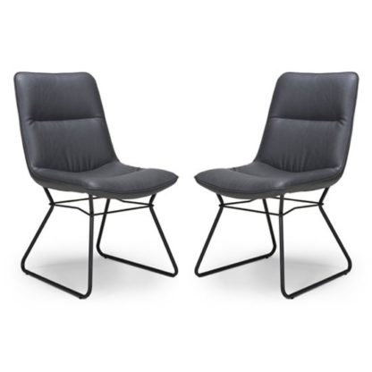 An Image of Darcy Grey Faux Leather Dining Chair In A Pair