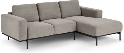 An Image of Jarrod Right Hand facing Chaise End Corner Sofa, Washed Grey Cotton