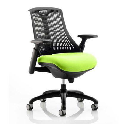 An Image of Flex Task Black Back Office Chair With Myrrh Green Seat