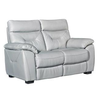An Image of Tiana Contemporary Faux Leather Fixed 2 Seater Sofa In Putty