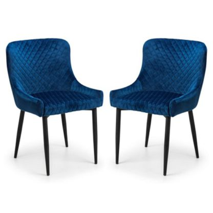 An Image of Luxe Blue Velvet Dining Chair In Pair