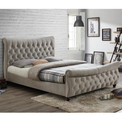 An Image of Berthold Super King Size Bed In Warm Stone With Dark Wood Feet