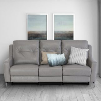 An Image of Windsor Faux Leather Electric Recliner 3 Seater Sofa In Grey