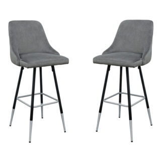 An Image of Fiona Grey Fabric Bar Stool In Pair