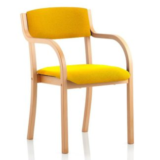 An Image of Charles Office Chair In Yellow And Wooden Frame With Arms