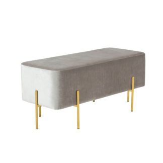 An Image of Ryman Bench In Grey Velvet And Gold Plated Stainless Steel