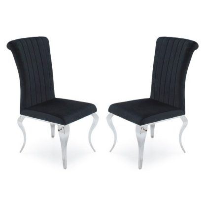 An Image of Galvan Fabric Dining Chair In Black With Metal Frame In A Pair