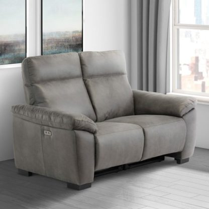 An Image of Farrow Fabric Electric Recliner 2 Seater Sofa In Grey